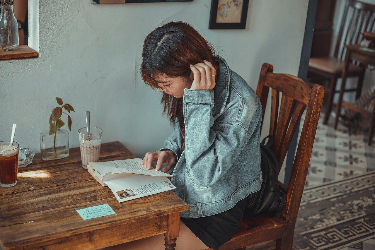 cafe, girl, book